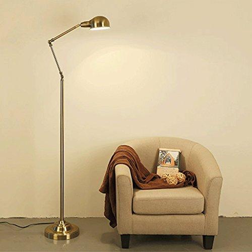 Lampe de plancher American Simple LED étude Protection des yeux lire Vertical lampadaire/Bronze décoration métallique Lampe de chevet A+