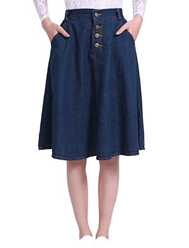 sourcingmap Damen hohe Taille Gürtel Schleife Knopf vorne geschlossen Taschen Denim Röcke, Navy Blue/XS (EU 32) (Schleife Gürtel Button,)