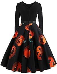 Samber Vestidos Mujeres Fiestas Halloween Faldas con Impresión con Calabaza de Manga Larga Vestido Invierno Otoño