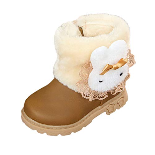 Jaysis Kleinkind Baby Mädchen Klassisch Mode Martin Stiefel und Stiefeletten Winter Warm, Sneaker Flaum Spitze Kaninchen Kopf Schön Prinzessin Plüsch Schuhe Rutschfest Rosa Rot Gelb