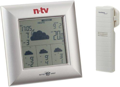 Technoline n -TV WetterDirektStation WD 4000 n-tv, Silber, 2-teilig bestehend aus Station und Sensor