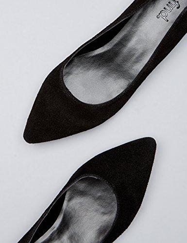 FIND Damen Spitz zulaufende Ballerinas aus Veloursleder Schwarz (Black)
