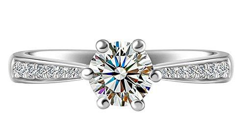 Cdet Offener Ring Sechs Klauen Einreihig Diamant-Ring Sechseckig Ring Valentinstag Weihnachten Geburtstag Geschenk Frau Ring