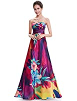 Ever Pretty Strapless Floral Printed Satin Colorful Empire Line Prom Party Dress Size 09603