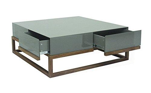 designement Taciana Table Basse Laqué Gris 100 x 100 x 38 cm