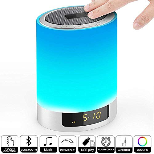 Night Lights Bluetooth Speaker, Sensor Táctil LED Lámpara De Mesa Regulable RGB Multicolor Con Reloj Despertador, Ranura Para Tarjeta TF, Llamadas Manos Libres, Para Fiesta, Dormitorio, Al Aire Libre