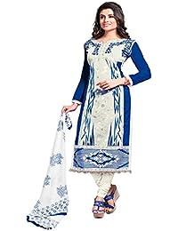 Jheenu Women's Blue White Glass Cotton Unstitched Dress Materials