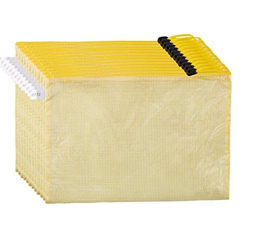 Draht-deckel Rack (Mesh Stil 12PCS Wasserdicht Double Layer Reißverschluss Datei Taschen Stationery Datei Aufbewahrung Verpackung Reißverschluss Lock Ordner Taschen Halter für A4A5Papier 12 with -A4 color mesh bag)