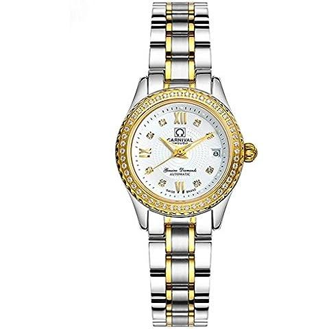 downj impermeabile luminoso automatico diamante oro e acciaio quadrante nero orologio da donna - Womens Diamante Orologio Automatico