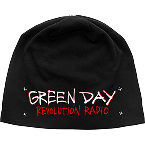 Green Day Mütze Beanie Revolution Radio Band Logo offiziell Schwarz jersey print Green Day-logo-beanie