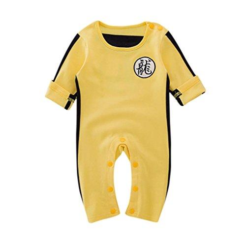 Webla Toddler Baby Boys Bruce Lee Clothes Long Sleeve Jumpsuit Romper Ages 0-24 Months