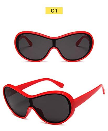 Wang-RX Sonnenbrille Männer Mode Big Frame Siamese Sport Sonnenbrille Frauen Brille Goggle Uv400