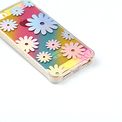 iPhone SE Coque,iPhone 5S Etui,Bleu Brillante Bling Glitter Soft Tpu Case Flexible Silicone Housse Etui Cristal Clair Coque Sparkles Éclat Mince Souple Gel Coque Couverture élégant Une Fleur Motif Tra Daisy fleur
