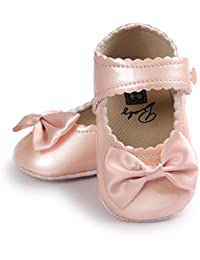 Zapatos de bebé, niña de niño Bowknot Leater Zapatillas Anti-Slip Suela Suave Zapato