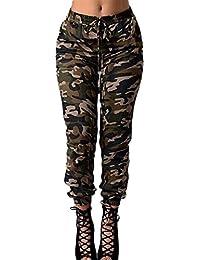 Pantalons Femme Printemps Automne Pantalon Militaire Vintage Hippie Mode  Casual Pantalon Jogging Taille Haute Pants Ceinture 7f17ea1a442