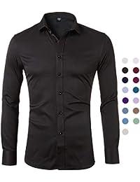 ce4d4275683 Camisa Bambú Fibra Hombre, Manga Larga, Slim Fit, Camisa Elástica  Casual/Formal