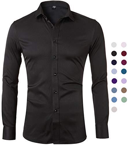 Harrms camicia elastica di bambù fibra per uomo, slim fit, camicie da cerimonia manica lunga, nero, 40 (collo 40cm, petto 104cm)