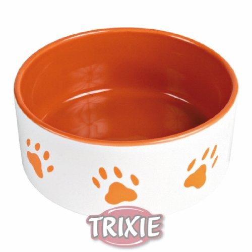 Artikelbild: Trixie 24402 Napf mit Pfoten, Keramik 0,8 Liter/ø 16 cm, weiß / orange