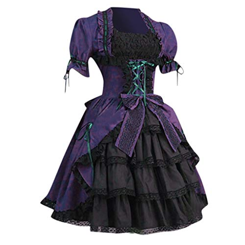 Lolita Kleid Damen Victorian Gothic Kostüm Piebo Frauen Kurzarm Mini-Kleid Lace Up Bowknot Rüschen Spitze Mittelalter Kleider Oktoberfest Halloween Weihnachten Party Karneval Fasching Cosplay Costume (Classic Zigeuner Kostüm)