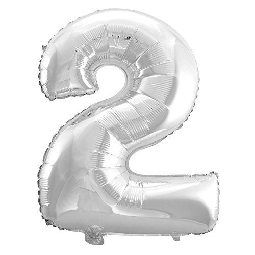 Cotigo-Globo Balloon Foil Brillante número Gigante cumpleaños de helio 100cm Plateado 2
