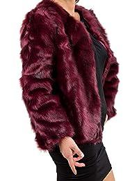vendita uk up-to-date styling ultima selezione Amazon.it: pelliccia ecologica - Rosso / Donna: Abbigliamento