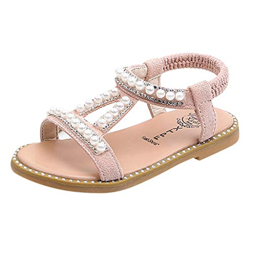 Mädchen Sandalen mit Bowknot Perlenkristall Lauflernschuhe beleuchtet Prinzessin Schuhe Halbsandalen Soft Sole Single Sneaker Strand Sandalen(22 Rosa-B)