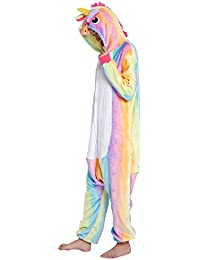Pijama Unicornio para Adultos Pijama Animal Invierno Entero de Franela Unisex Pijama Mono Animal Disfraz Navidad para Mujer Hombre