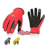 Vgo Glove Guanti, 3 paia, guanti da lavoro in pelle nabuk, guanti da giardinaggio, meccanico, edile, multifunzione (9/L,Rosso & Grigio & Giallo,NB7581)