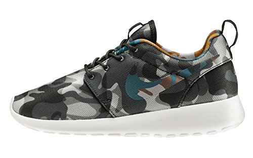 Nike Women's Roshe One Print Ankle-High Fabric Running Shoe, BLACK/BRGD BLUE-ANTHRACITE-COOL GREY, 40.5 B(M) EU/6.5 B(M) UK