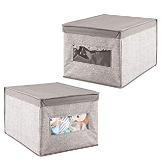mDesign 2er-Set Wickeltisch-Organizer (groß) - hochwertige Aufbewahrungsbox mit Sichtfenster für Babysachen - ebenso als Kleiderschrank-Organizer verwendbar - beige