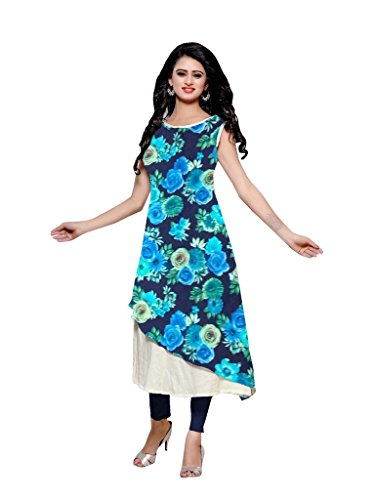 Kurti (SRK RETAIL Women\'s Creap sleeveless Straight Blue Color Women Kurti)