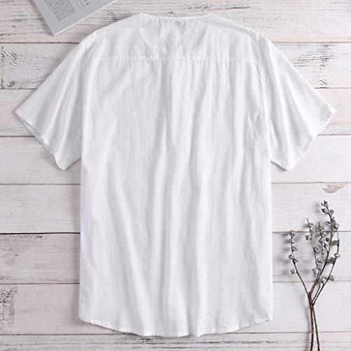 Luckycat Herren Hemd Stehkragen Kurzarm Leinen Freizeithemden Slim Fit Sommer Hemd Langarmshirt Herren Leinenhemd leinen Shirt Langärmelig Hemden mit Stehkragen Kurze Knopfleiste Slim fit für Herren