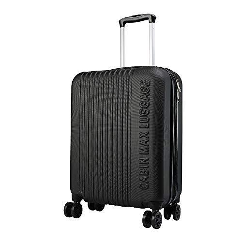 Cabin max velocity trolley rigido cabin size leggero | valigia con 4 ruote in abs resistente 55x40x20 con zip espandibile a 55x40x25. approvato per voli ryanair, easyjet, ba (classico nero)