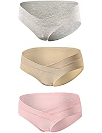 Topwhere Maternity Underwear Women's Cotton Low-Waist Bragitas para Premama 3Pack