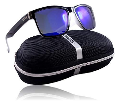 WinLook - Sonnenbrille aus polarisiertem und zertifiziertem UV400 - bequem und leicht - elegantes Design- gratis Schutz Etui - Neuheit 2019 - DUBERY (Schwarz & Weiß/Mazarin)