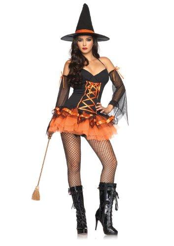 Leg Avenue 83632 - Verspieltes Hocus Pocus Hottie Minikleid, Größe M/L, schwarz/orange