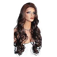 شعر مستعار صناعي بني للنساء - شعر مموج طويل بمظهر طبيعي 30 بوصة - لون متغير متدرج