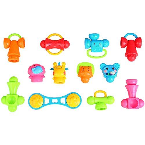 Peradix Steckspiele Kinder DIY Spielzeug Baby Rassel Greifling 3D Puzzles 12 PCs für Kinder ab 3 Jahre