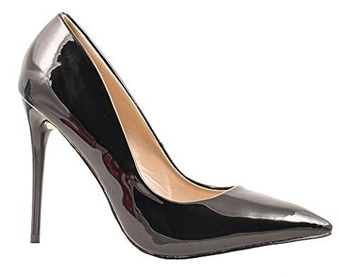 Elara Spitze Pumps   Moderne High Heels   Bequeme Lack Stilettos Schwarz 38 (High Heels Pumps)