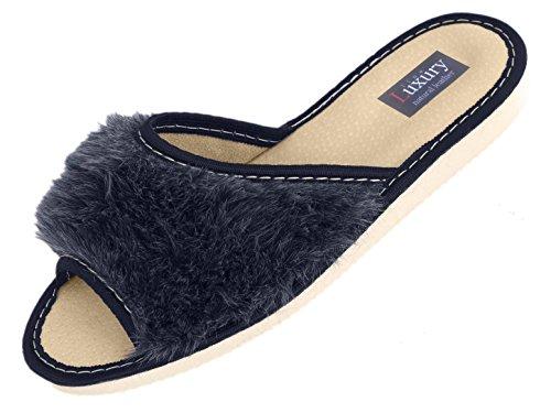 Linea Di Lusso, Pantofole Da Donna Aperte In Punta Di Grigio