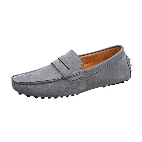Baymate Hommes Confort Conduire Voiture Glisser Sur Loafers Appartements Gris