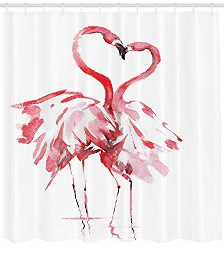 Abakuhaus Duschvorhang, Romantischer Augenblick Zwischen Zwei Flamingos die Einen Herzens Motiv Erzeugen Rosa Rot Druck, Wasser und Blickdicht aus Stoff mit 12 Ringen Bakterie Resistent, 175 X 200 cm