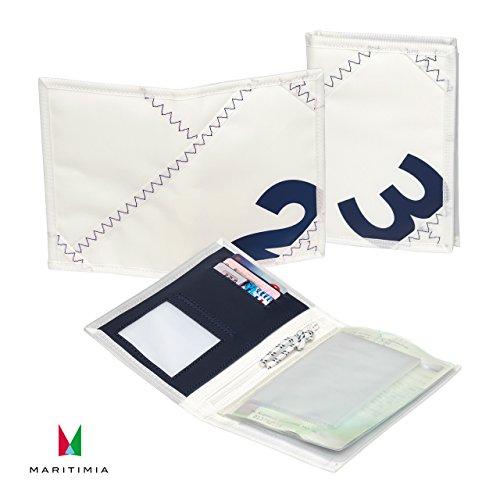 Sea Licence Brieftasche, Weiß/Marineblau aus Segeltuch