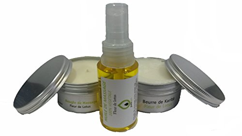 Kit coffret cadeau massage sensuel bien être Fleur de Lotus. avec 1 Bougie de massage, 1 huile de massage en spray, 1 beurre de karité, 1 trousse