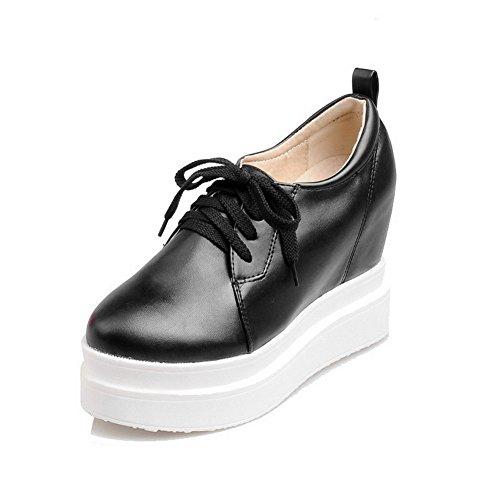 AllhqFashion Damen Weiches Material Rund Zehe Schnüren Rein Pumps Schuhe Schwarz Sp3XAvuAE