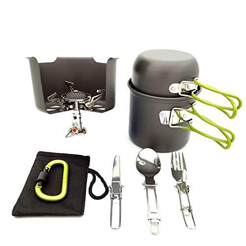 SLONG Camping-Kochgeschirr-Set mit Herd, Outdoor-Kochset Antihaft-Campingpfannen für 2 bis 3 Personen, die Reisen, wandern und campen,Green