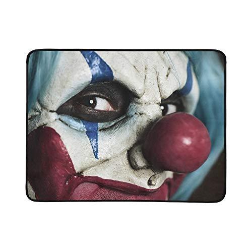 Böse Kostüm Unheimlich Clown - SHAOKAO Böse furchtsame Clown Monster Muster tragbare und Faltbare Deckenmatte 60x78 Zoll handliche Matte für Camping Picknick Strand Indoor Outdoor Reise