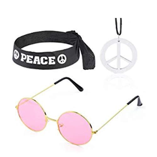 SLIJing Außergewöhnliches 5er-Pack Hippie-Kostüm-Set - 60er-Jahre-Kostüme Sonnenbrille Peace-Zeichen Halskette und Ohrringe, schwarzes Peace-Zeichen Stirnband und Peace-Zeichen PU geflochtenes - 60er Jahre Themen Kostüm