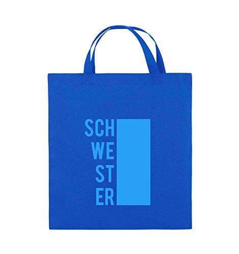 Comedy Bags - SCHWESTER - BLOCK - Jutebeutel - kurze Henkel - 38x42cm - Farbe: Schwarz / Silber Royalblau / Blau