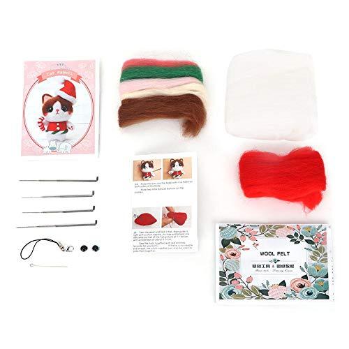 Nadelfilz-Kit, niedliche Weihnachten Katze Wollfilz DIY Starter Kit mit Werkzeugen einfach für Anfänger Wollfilz-Tool Kunsthandwerk Woll-Kit für Dekorationen -